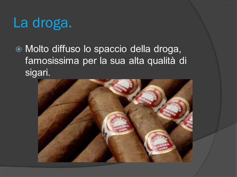 La droga. Molto diffuso lo spaccio della droga, famosissima per la sua alta qualità di sigari.
