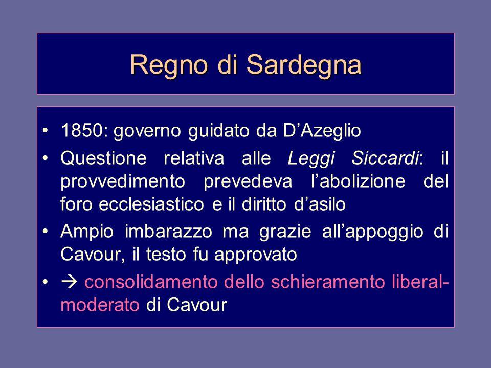 Regno di Sardegna 1850: governo guidato da D'Azeglio