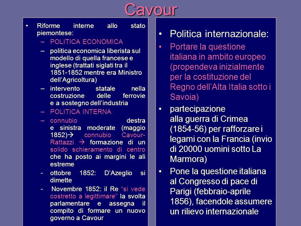 Cavour Politica internazionale:
