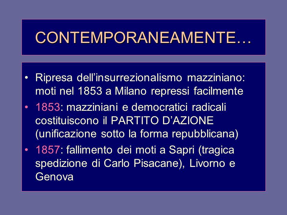 CONTEMPORANEAMENTE… Ripresa dell'insurrezionalismo mazziniano: moti nel 1853 a Milano repressi facilmente.