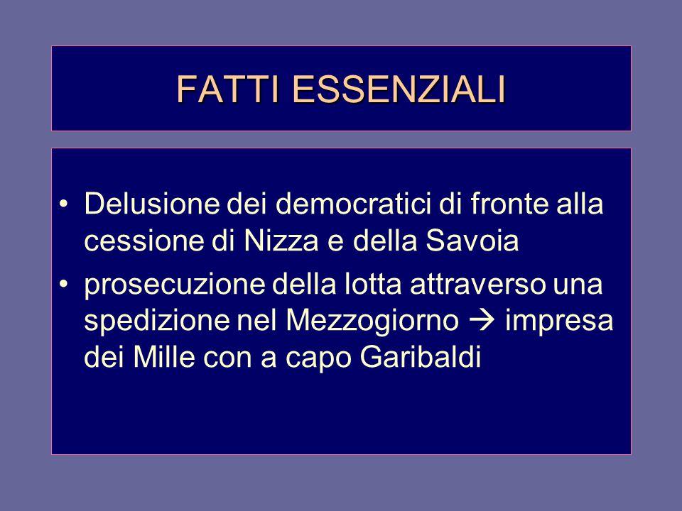FATTI ESSENZIALI Delusione dei democratici di fronte alla cessione di Nizza e della Savoia.