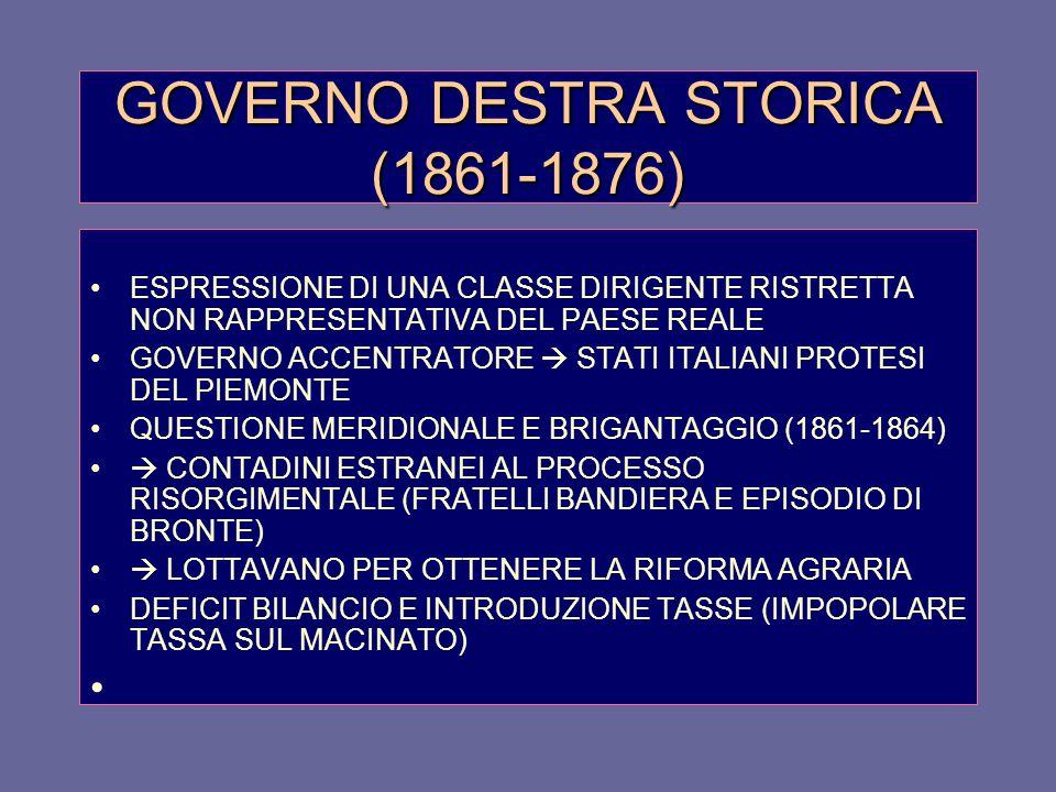 GOVERNO DESTRA STORICA (1861-1876)