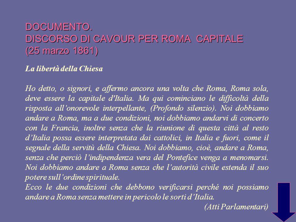 DOCUMENTO. DISCORSO DI CAVOUR PER ROMA CAPITALE (25 marzo 1861)