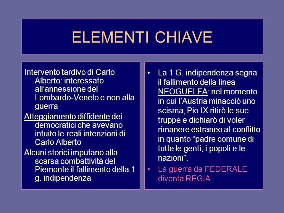ELEMENTI CHIAVE Intervento tardivo di Carlo Alberto: interessato all'annessione del Lombardo-Veneto e non alla guerra.