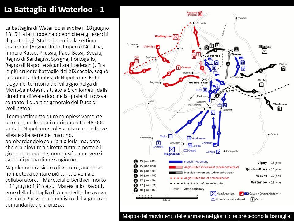 Mappa dei movimenti delle armate nei giorni che precedono la battaglia