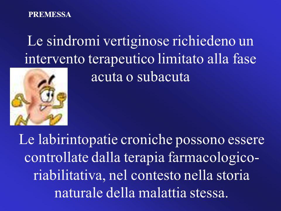 PREMESSA Le sindromi vertiginose richiedeno un intervento terapeutico limitato alla fase acuta o subacuta.