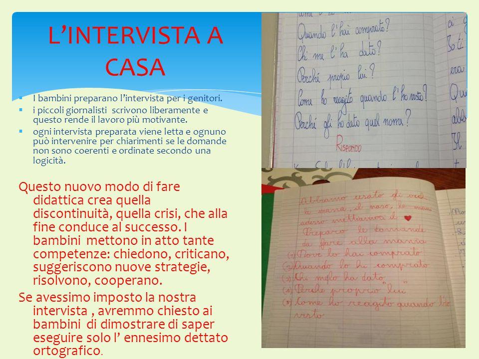 L'INTERVISTA A CASA I bambini preparano l'intervista per i genitori.