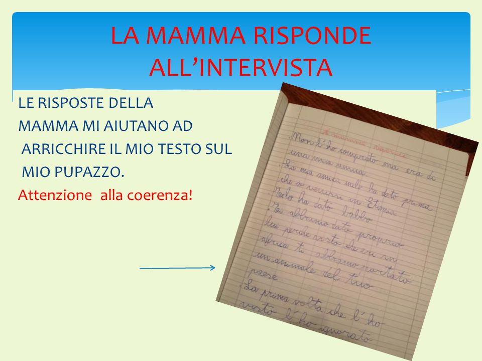LA MAMMA RISPONDE ALL'INTERVISTA