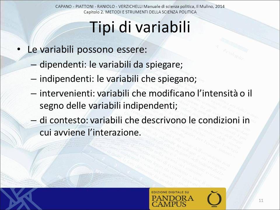 Tipi di variabili Le variabili possono essere: