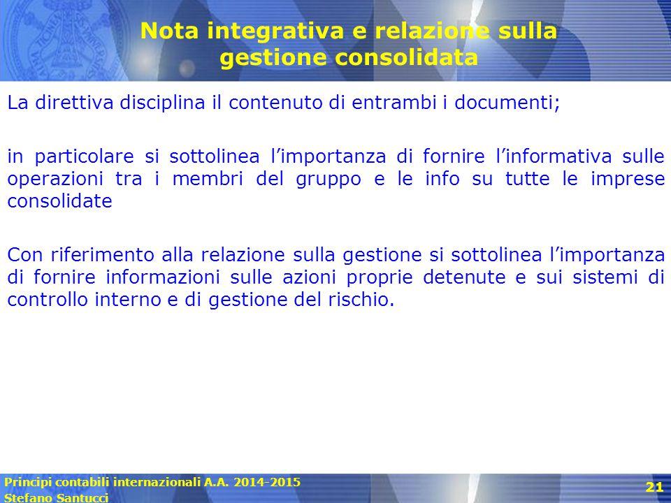 Nota integrativa e relazione sulla gestione consolidata