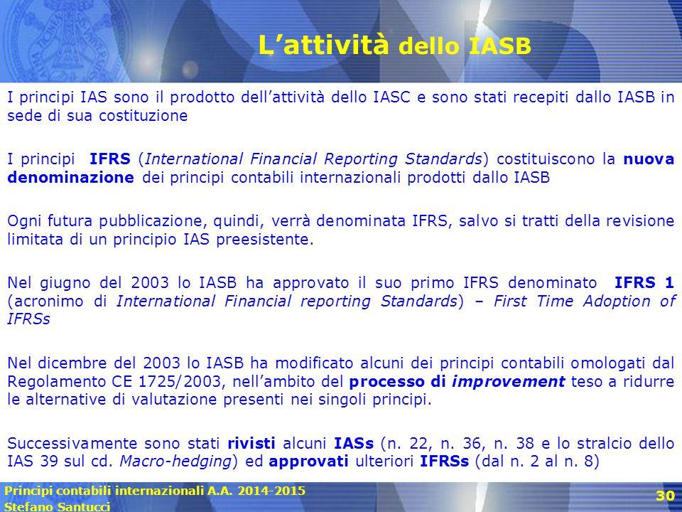 L'attività dello IASB I principi IAS sono il prodotto dell'attività dello IASC e sono stati recepiti dallo IASB in sede di sua costituzione.