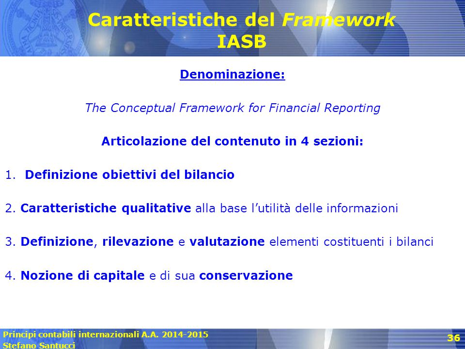 Caratteristiche del Framework IASB