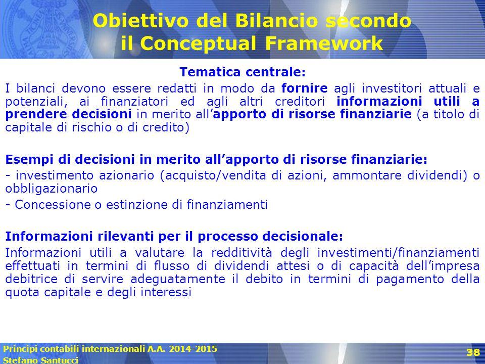 Obiettivo del Bilancio secondo il Conceptual Framework