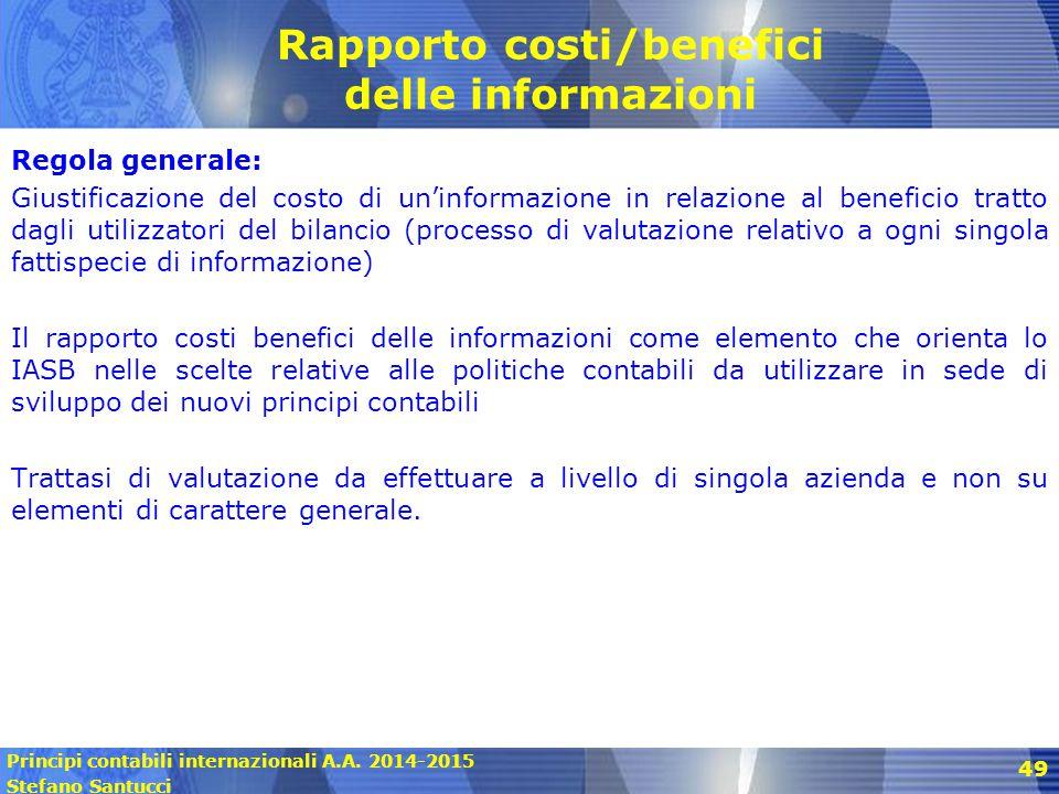 Rapporto costi/benefici delle informazioni