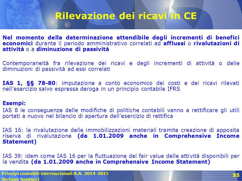 Rilevazione dei ricavi in CE