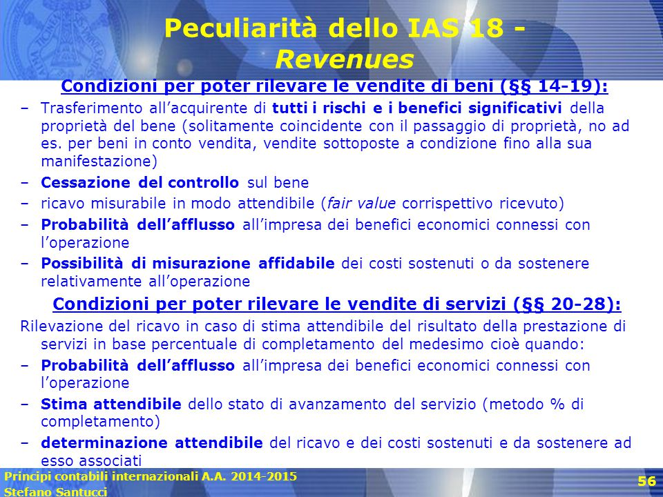 Peculiarità dello IAS 18 - Revenues