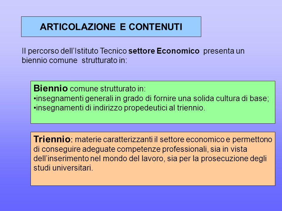 ARTICOLAZIONE E CONTENUTI