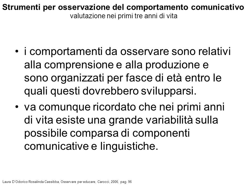 Strumenti per osservazione del comportamento comunicativo valutazione nei primi tre anni di vita