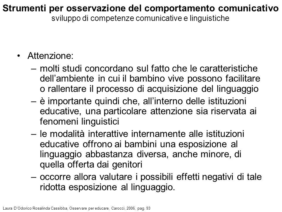 Strumenti per osservazione del comportamento comunicativo sviluppo di competenze comunicative e linguistiche