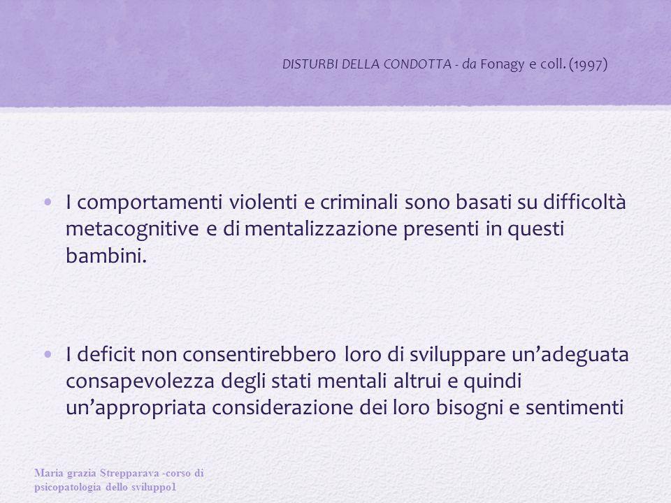 DISTURBI DELLA CONDOTTA - da Fonagy e coll. (1997)