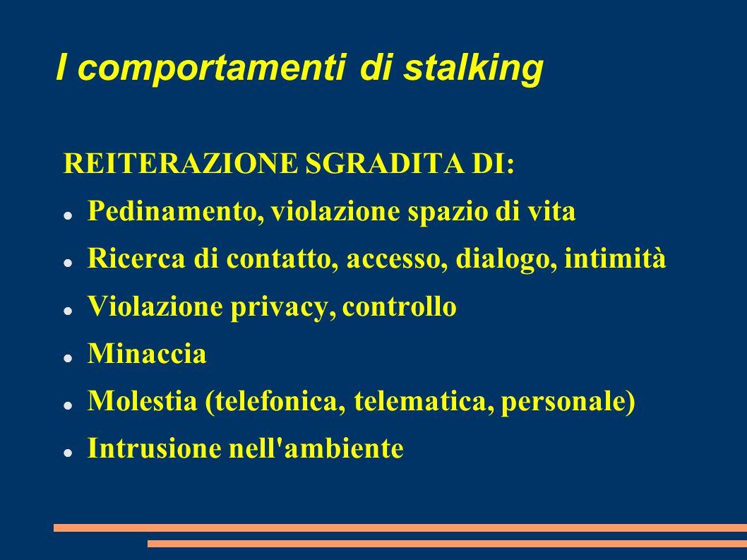 I comportamenti di stalking