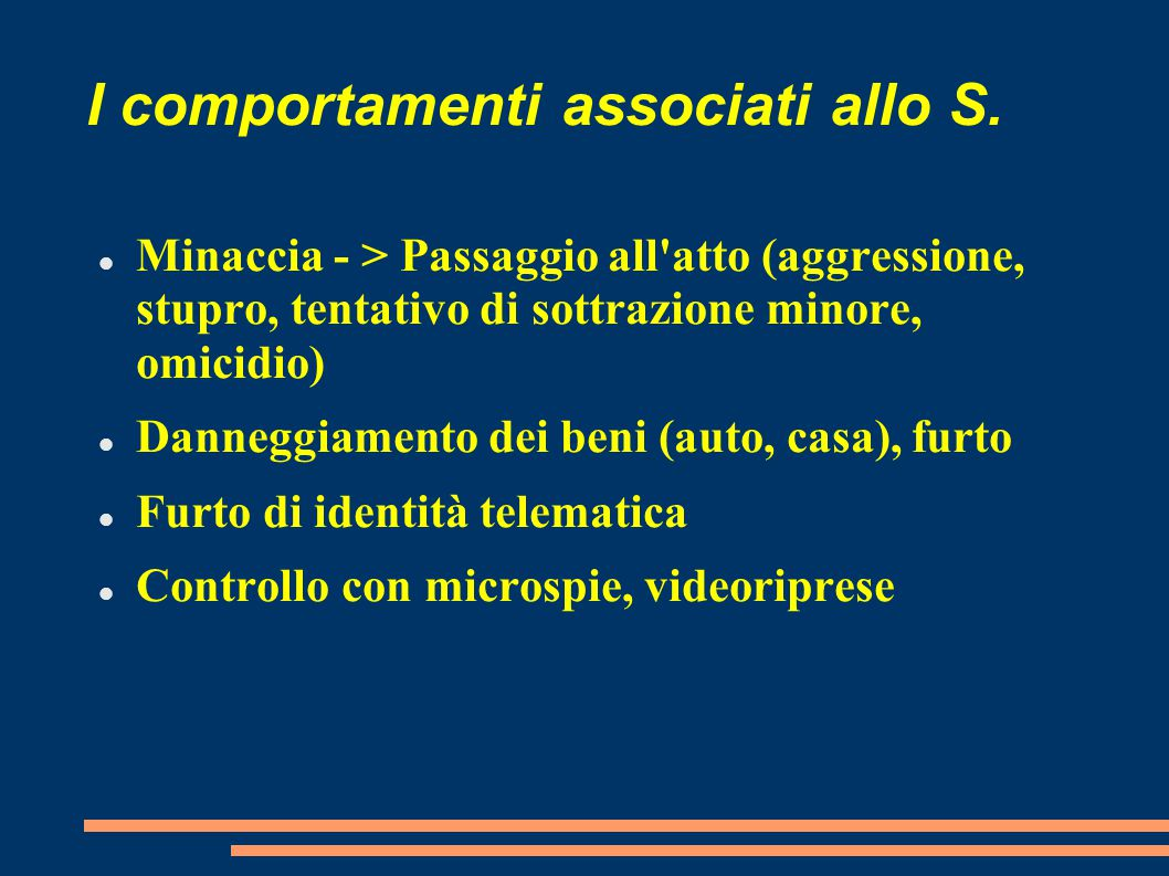 I comportamenti associati allo S.