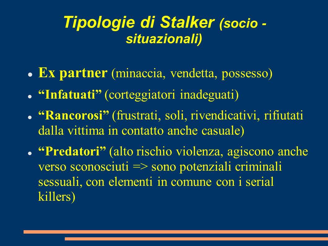 Tipologie di Stalker (socio - situazionali)
