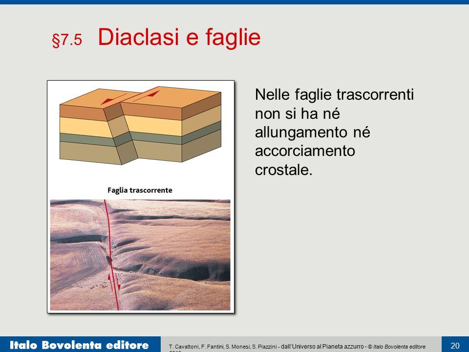 §7.5 Diaclasi e faglie Nelle faglie trascorrenti non si ha né allungamento né accorciamento crostale.