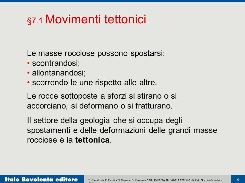 §7.1 Movimenti tettonici Le masse rocciose possono spostarsi: scontrandosi; allontanandosi; scorrendo le une rispetto alle altre.