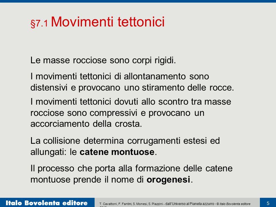§7.1 Movimenti tettonici Le masse rocciose sono corpi rigidi.