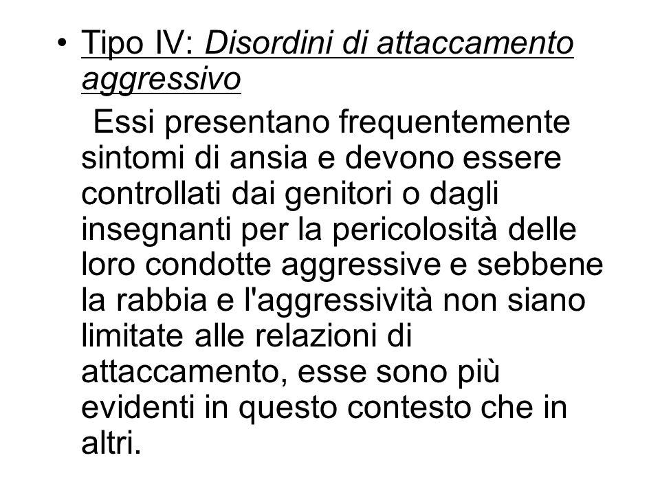 Tipo IV: Disordini di attaccamento aggressivo