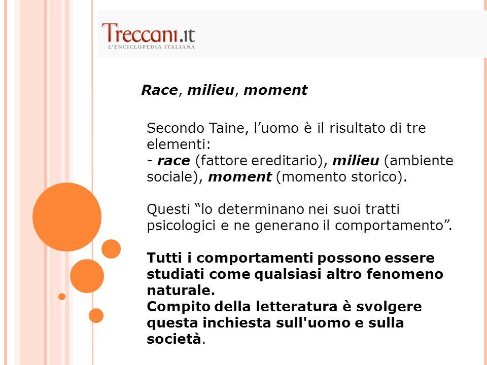 Race, milieu, moment Secondo Taine, l'uomo è il risultato di tre elementi: