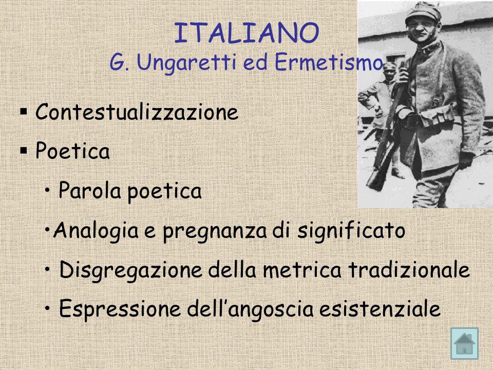 ITALIANO G. Ungaretti ed Ermetismo