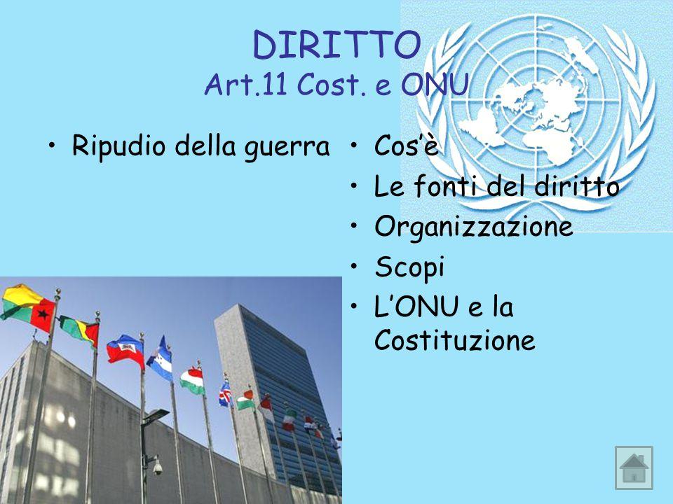 DIRITTO Art.11 Cost. e ONU Ripudio della guerra Cos'è