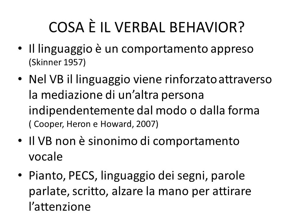 COSA È IL VERBAL BEHAVIOR