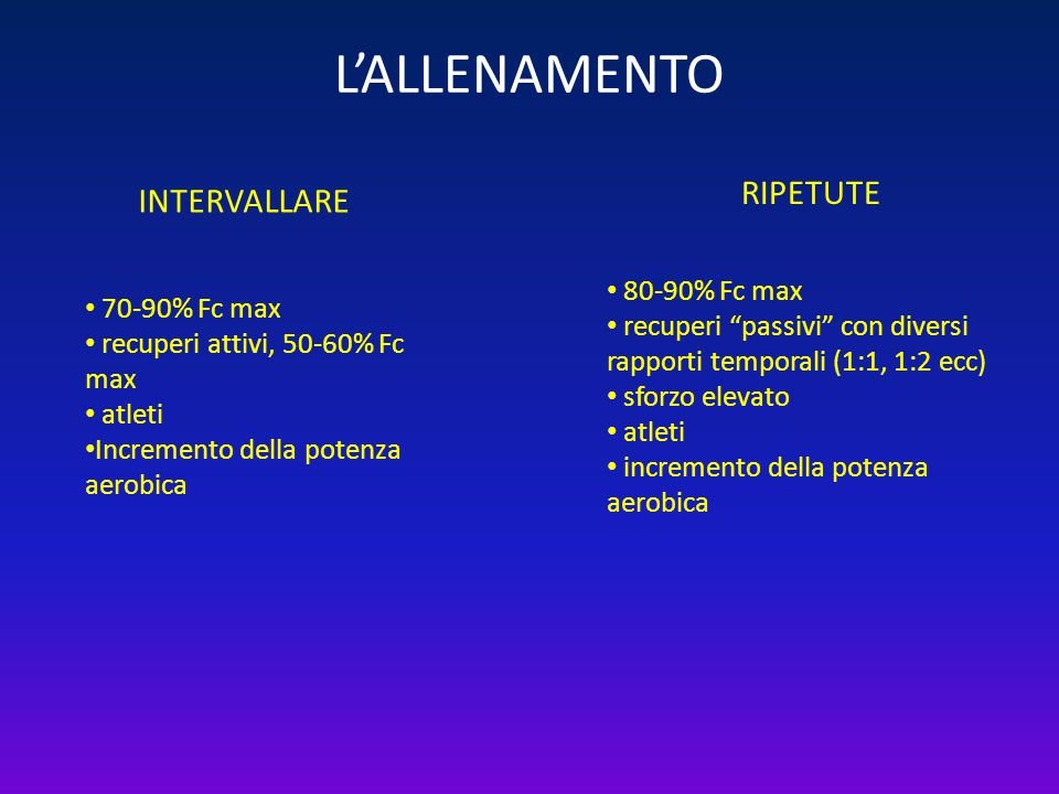 L'ALLENAMENTO RIPETUTE INTERVALLARE 80-90% Fc max