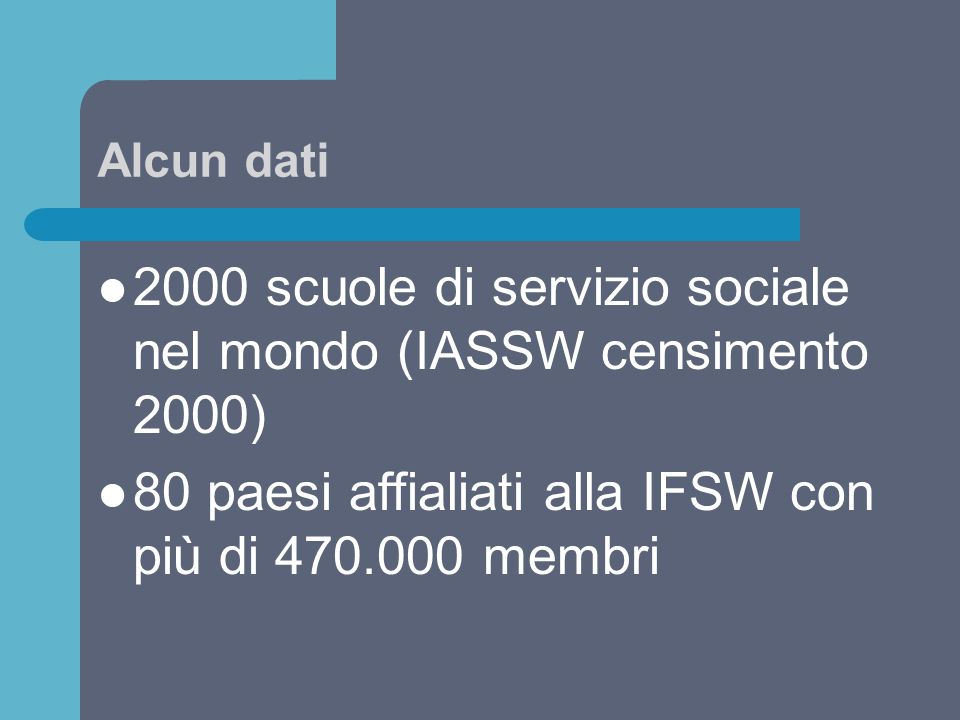 2000 scuole di servizio sociale nel mondo (IASSW censimento 2000)