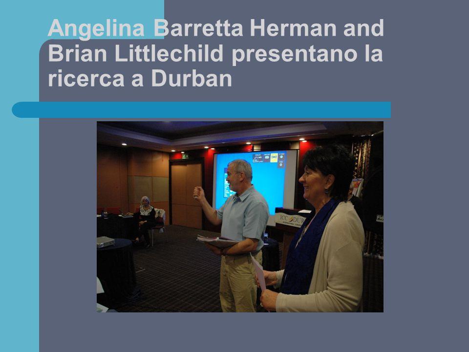 Angelina Barretta Herman and Brian Littlechild presentano la ricerca a Durban