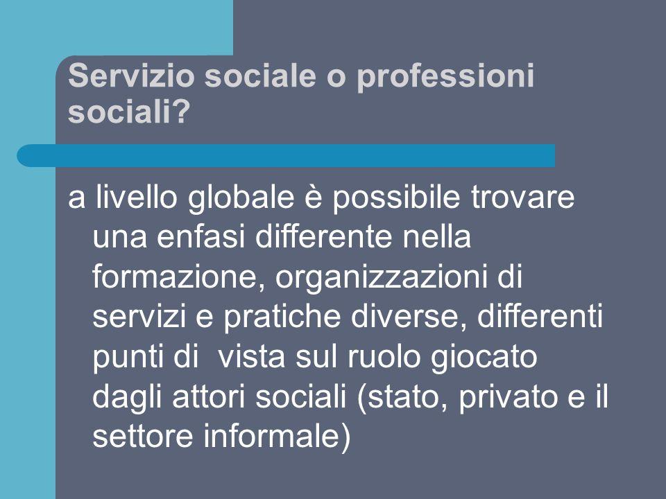 Servizio sociale o professioni sociali