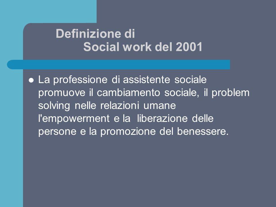 Definizione di Social work del 2001