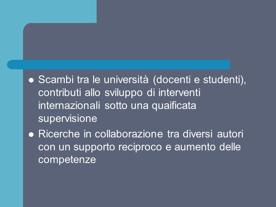 Scambi tra le università (docenti e studenti), contributi allo sviluppo di interventi internazionali sotto una quaificata supervisione