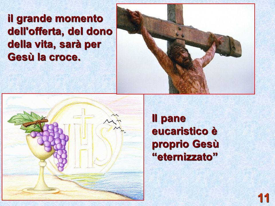 il grande momento dell offerta, del dono della vita, sarà per Gesù la croce.