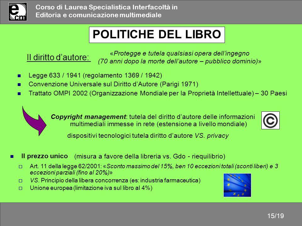 POLITICHE DEL LIBRO Il diritto d'autore: