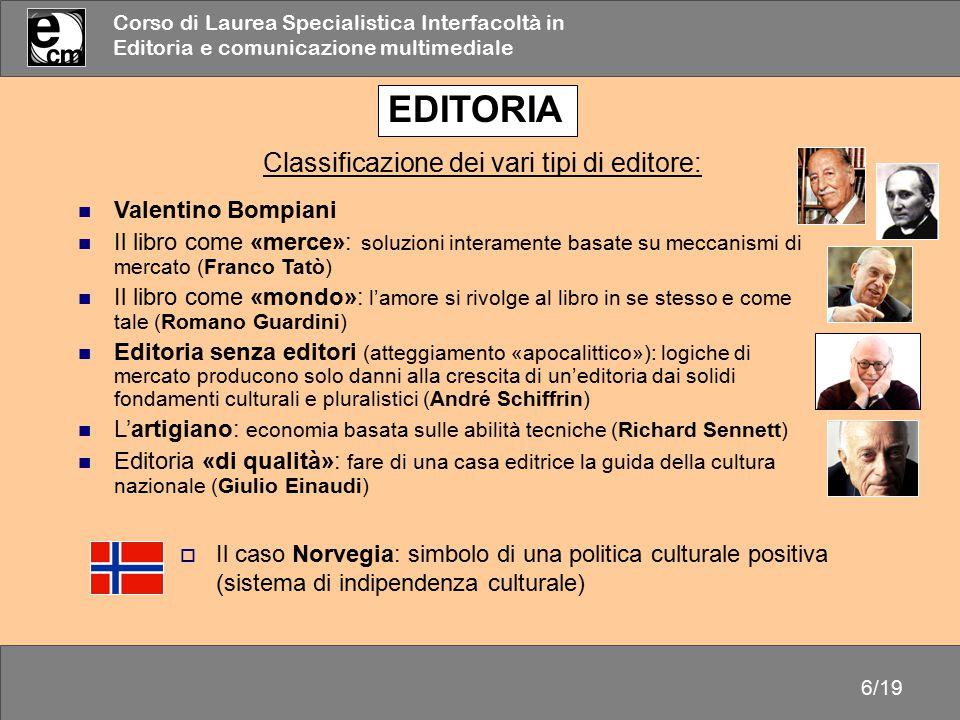 EDITORIA Classificazione dei vari tipi di editore: Valentino Bompiani