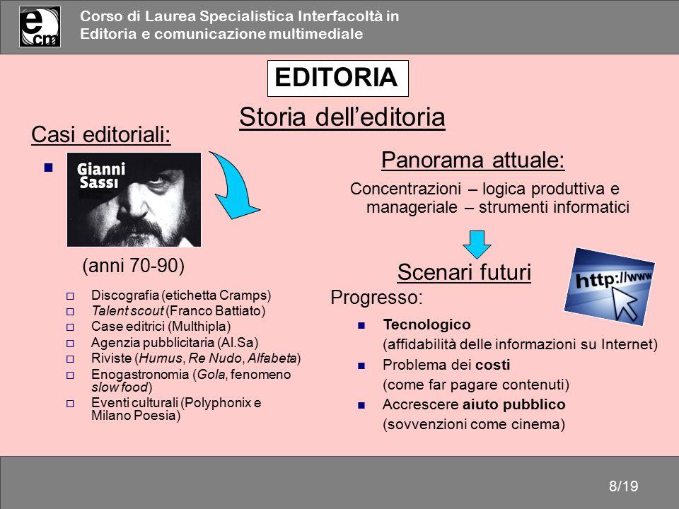 EDITORIA Storia dell'editoria Casi editoriali: Panorama attuale: