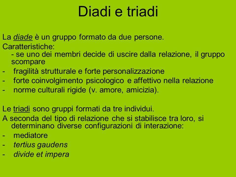 Diadi e triadi La diade è un gruppo formato da due persone.