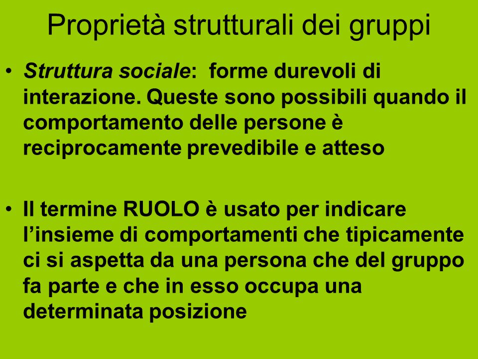 Proprietà strutturali dei gruppi