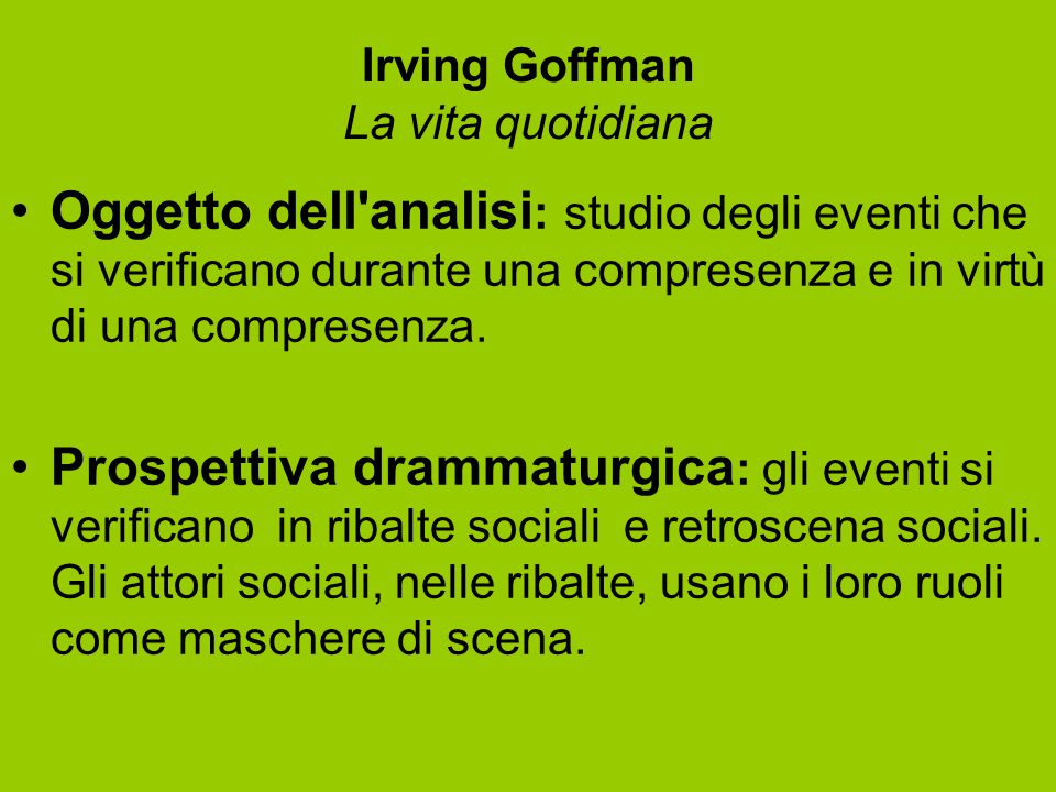 Irving Goffman La vita quotidiana