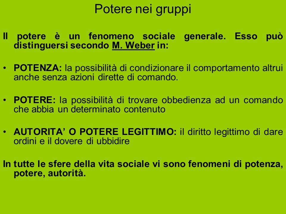 Potere nei gruppi Il potere è un fenomeno sociale generale. Esso può distinguersi secondo M. Weber in: