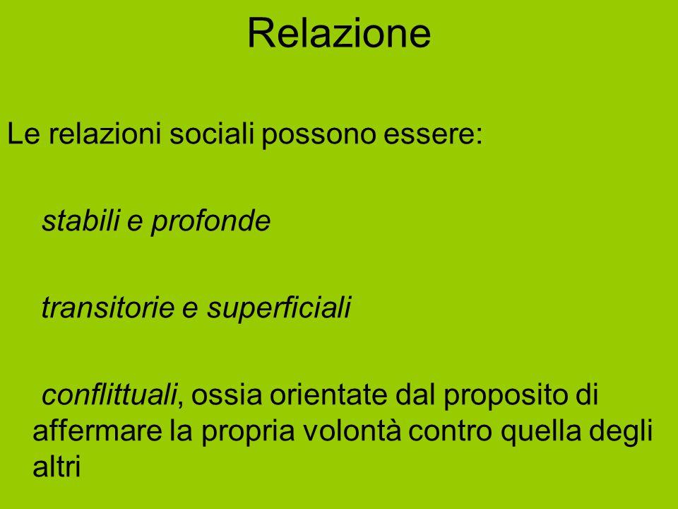 Relazione Le relazioni sociali possono essere: stabili e profonde